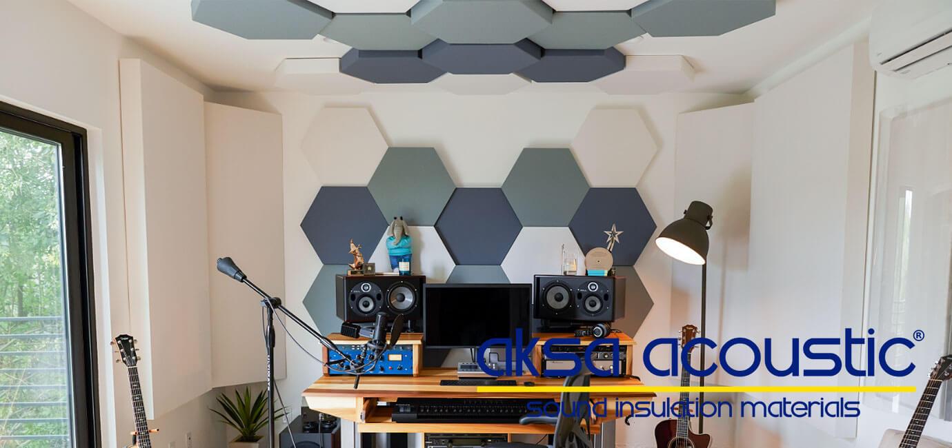 akustik altıgen kumaş kaplı duvar tavan kaplama panelleri